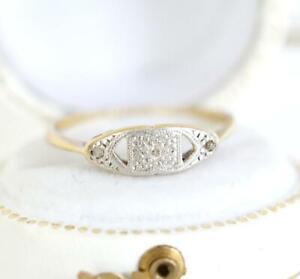 Zauberhafter antiker Art Deco Ring mit Diamanten 18ct Gelbgold + Platin  A3317
