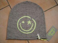 (C) Feinstrick Mütze FREAKY HEADS Beanie leichte Wintermütze Happy Face + Logo