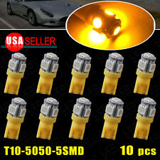 10X Yellow Interior Light T10 Wedge 5SMD 5050 LED W5W 2825 158 192 168 194