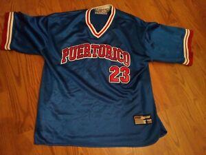 NYC 212 Puerto Rico Baseball's Jersey Mens Size 2XL Blue Shirt Sleeve #23