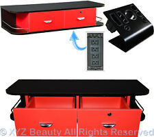 Red Locking Wall Mount Styling Station Appliance Salon Spa Beauty Equipment