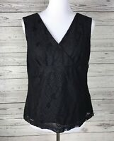 Briggs New York Women's Black Sleeveless Lace Overlay V-Neck Top Blouse Size PL