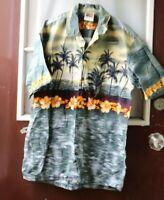 Winnie Fashion Hawaiian Shirt Mens size L Sunset Made in Hawaii Palm Trees  -Y=