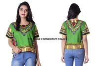 Femme Africain Imprimé Dashiki Robe Chemise Boho Hippie Gypsy Fête Haut Court