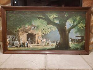 "Vintage Paul Detlefsen ""The Smithy"" Blacksmith Full Print 52"" x 28"" Framed Print"