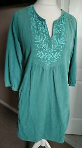 Gorgeous East Needle Cord Tunic Dress Green Embroidered Size 18 Short Pockets