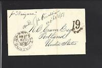 BOSTON, MASSACHUSETTS 1857 INCOMING STAMPLESS TRANSATLANTIC,PACKET TO PORTLAND.