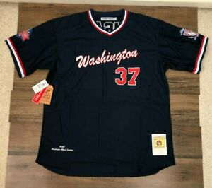 Navy Washington Black Senators Negroe League Baseball Jersey Authentic Headgear