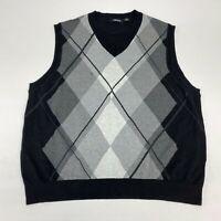 Claiborne Sweater Vest Men's 3XL XXXL Sleeveless Black Regular Fit Cotton