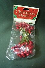One Bunch of Double Ended Blood Red Holly Berries or Stamen