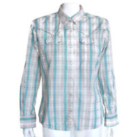 Wrangler Western Shirt Women Pearl Snap Blue Ivory Red Plaid Floral Accent - M