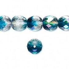 9047 Czech Fire polished Round Beads 10mm Crystal Aqua 16 inch *UK EBAY SHOP*
