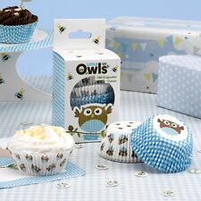 Cupcake Cases X100 Birthday Party Boys Little Owls Blue Cake Accessories
