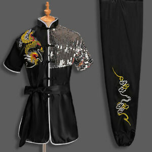 Kung Fu Tai Chi Uniform Martial Arts Suit Outfit With Sequins Dragon Embroidery