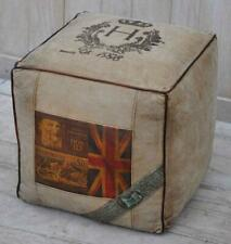 Canvas Square Cubed Pouffe / Footstool - 40cm - Leather Edged - Union Jack