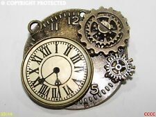 Steampunk broche insignia con Pin Bronce Reloj Reloj De Reloj De Bronce Rueda Dentada COGS