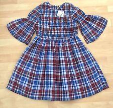 Girls Zara Girls 152 cm sz 11-12 Red Blue Smocked Long Sleeve Fall Dress NWT