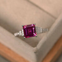 14K White Gold Princess Cut Ruby 1.95 Ct Real Diamond Engagement Ring Size 5 6 7