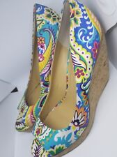 Nine West Wild Thingo Multi-Colored floral Wedges Heels Shoes Size 11M