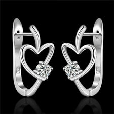 1Pair Fashion 925 Silver Cute Heart Crystal Wedding Zircon Women Earring Jewelry