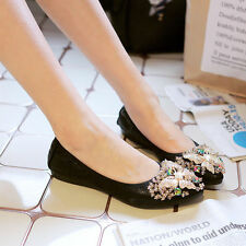 New Women Crystal Bow tie Pointy Tote Flats Soft Ballet Shoes Big Size US 4-13