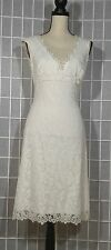TADASHI Sleeveless V Neck Fully Lined White Lace Cocktail Party Dress Size 2(US)