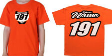 PIT TEE MOTOCROSS NUMBER PLATE YOUTH T SHIRT ORANGE CHILD MX MINI MX KIDS