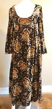 Vintage 1960 Gayle Kirkpatrick Paisley Black Gold Velvet Dress Empire Waist LkNW