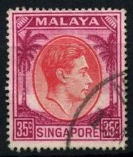 Singapore 1948-52 SG#25a 35c Scarlet & Purple KGVI P17.5x18 Used #D46950