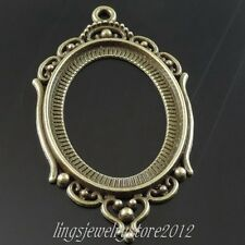 39552 Vintage Bronze Tone Alloy Oval Frame Cameo Tray Pendant Inner40*30mm 10pcs