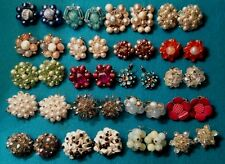 Huge Lot 20 Pairs Quality VINTAGE CLUSTER AB CRYSTAL Beaded Flower Earrings
