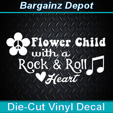 Vinyl Decal.. FLOWER CHILD WITH A ROCK & ROLL HEART.. Car Laptop Sticker Decal