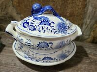 Arnart Blue Onion Gravy Soup Tureen Ladle Plate Japan Vintage