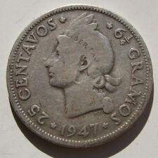 REPUBLICA DOMINICANA , 25 CENTAVOS DE PESO DE 1947 . PLATA