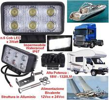 FARO MARINO HIGH-POWER 6 COB LED WHITE 18W 12V-24V IP67 BARCA CAMION AUTO CAMPER