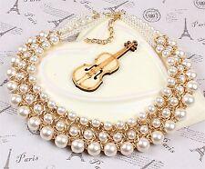 PUNK Fashion Chain Pearl Crystal Bib Statement Necklace Pendant Choker Jewelry