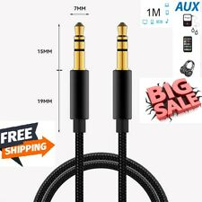 Aux Cable Audio Lead 3.5mm Jack to Jack Stereo Male for Car PC Phone Tablets 1m