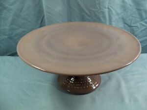 Mosser from Fenton Mold Eggplant Purple Glass Hobnail Footed Cake Stand