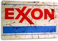 Exxon Gas Gasoline Vintage Garage Motor Retro Rustic Wall Decor Metal Tin Sign