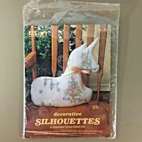 Unicorn stamped cross stitch kit vintage 3D stuffed unicorn Titan Ceres 80s new