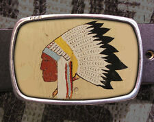 Indian Headdress Vintage Inspired Art Gift Native American Belt Buckle