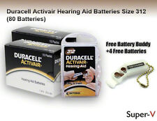 80 Duracell Size 312 Hearing Aid Batteries (2 x 40 Packs)+ Keychain/4 batteries