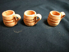 Dollhouse Miniature 1:12 Scale Beer Mugs Clay Material 3 pcs set #Z256