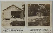 (2) Hawthrone Farm Photographs 1916 Garage Kitchen & Beehouse Bedroom After Fire