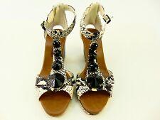 Libby Edelman Bani Black White Snakeskin Wedge Heels Zip Ankle Strap Womens 7 W