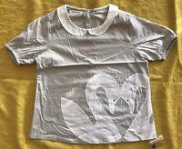Djaknemala Chasing Fireflies Girls Grey Top Shirt White Swans Sz 6 8 NWT