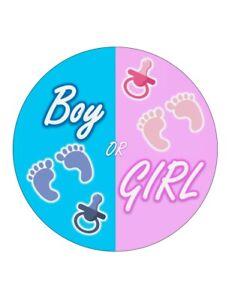 GENDER REVEAL BOY OR GIRL CHOOSE SIZE EDIBLE WAFER/RICE FONDANT PAPER CAKETOPPER