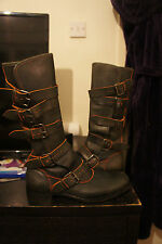 vivienne westwood aubergine  and orange pirate boots 2002/03 collection leather