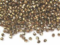 50 gold coloured Czech glass fire polished beads - 4mm (90215)