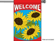 "WELCOME SUNFLOWERS FLOWERS GARDEN BANNER/FLAG 28""X40"" SLEEVED POLY"